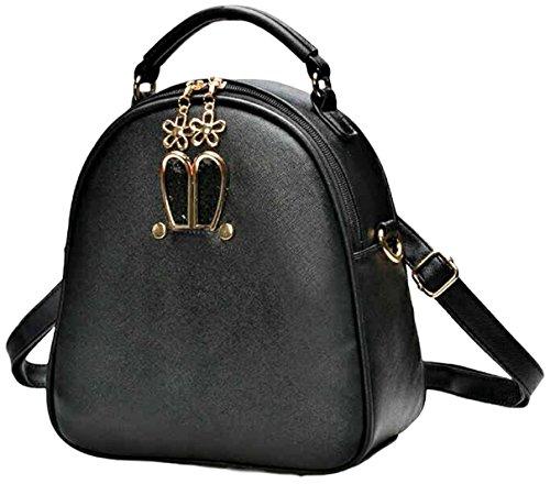 Shoulder Bag Ladies Fashion Backpack PU Leather【With white ball keychain】girls Crossbody Handbag - Black D&g Bag