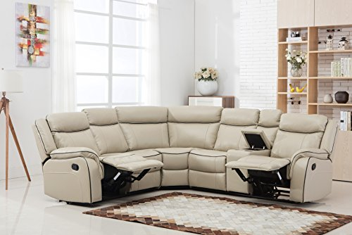 Reclining Sectional Recliner Sofa - Large Classic and Traditional Two Tone Bonded Leather Reclining Corner Sectional Sofa (Beige)