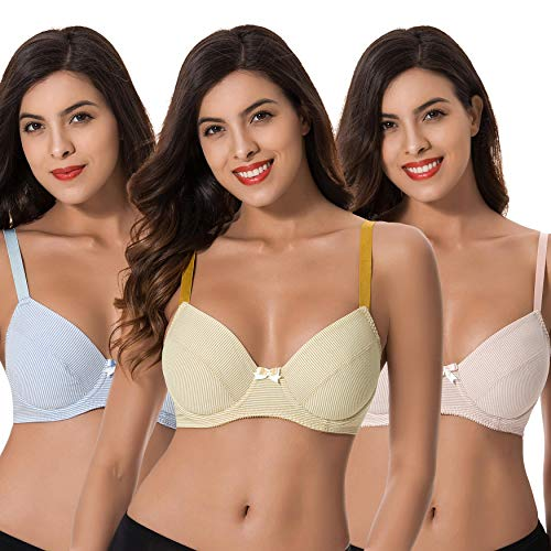 (Curve Muse Plus Size Womens Cotton Unlined Balconette Underwire Bras-3 Pack-Yellow,Light Pink,Light BLUE-36DDD)