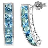 ALARRI 4.5 Carat 14K Solid White Gold Sea Of Love Blue Topaz Earrings
