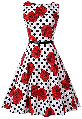Sleeveless Floral Polka Dot Cocktail Swing Party Dress with Belt C60 (Rose&dot, M) (Polka Dot Cocktail Dresses)