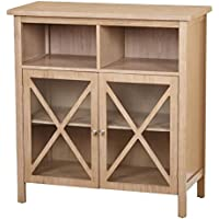 Target Marketing Systems Silvia Collection Modern Two Cubby, One Open Glass Cabinet With Shelf Storage Cabinet, Light Latte