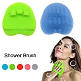 INNERNEED Soft Silicone Body Brush Body Wash Bath Shower Glove Exfoliating Skin SPA Massage Scrubber (Green+ Light Blue)