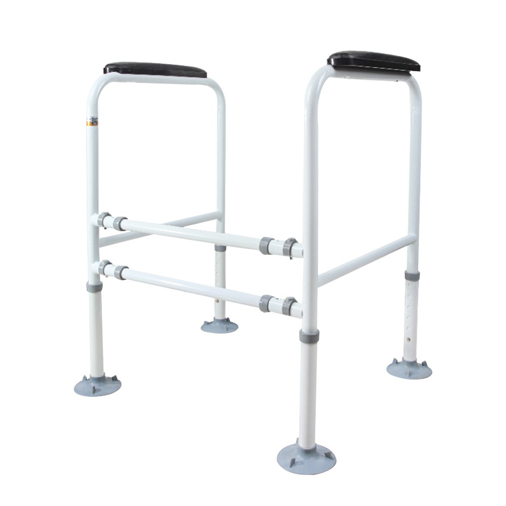 HUKOER Stand Alone Toilet Rail Medical Bathroom Safety Assist Frame Grab Bars & Railings for Elderly, Senior, Handicap