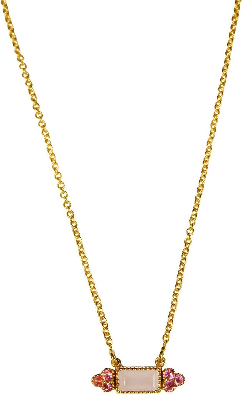 Yoyes Banti Collar Vintage Lat—n con Ba–o de Oro 18 kilates de 1 micra. Piedras: calzedonia Rosa con circonitas Rosas. Cadena Ajustable deÊ38 y 42cm.