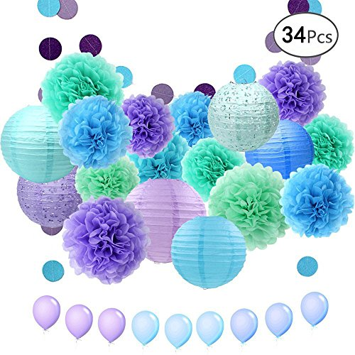 APLANET 34pcs Paper Flower Pom Pom and Paper Lantern, Polka Dot Paper Garland, Balloon for Party, Celebration, Nautical Themed Ball - Lantern Garland