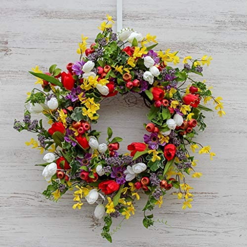Darby Creek Trading All Dressed Up Tulips, Forsythia & Pomegranate Pods & Purple Berry Spring Wreath