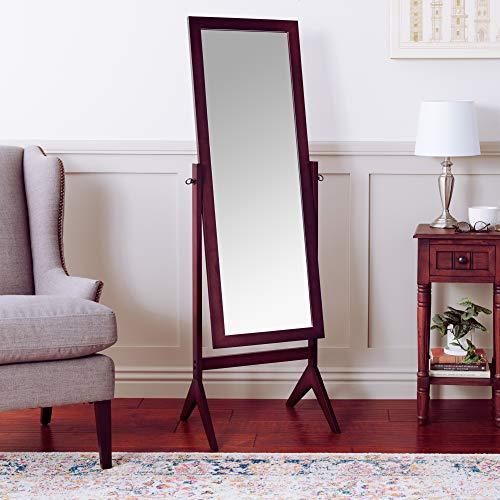 Crown Mark Espresso Finish Wooden Cheval Bedroom Floor Mirror