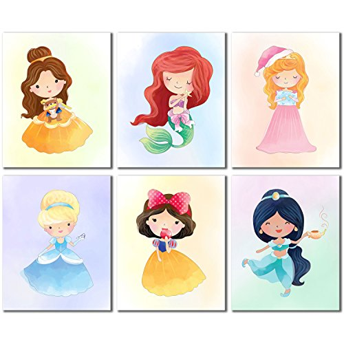 (Princess Kids Wall Decor - Belle Ariel Cinderella Snow White Jasmine Aurora Set of 6 Cute Art (8 inches x 10 inches) Prints)