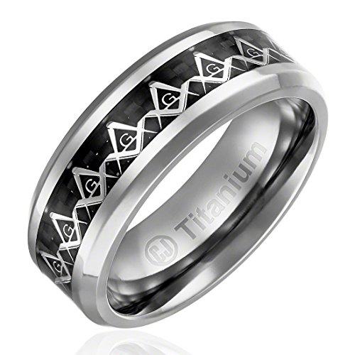 Masonic Wedding Rings (8MM Comfort Fit Titanium Wedding Band   Engagement Ring with Masonic Square and Compass Symbol over Black Carbon Fiber Inlay   Beveled Edges [Size)