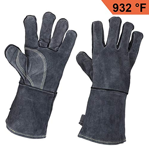 OZERO Leather Welding Gloves Heat Resistant Grill Glove for Grilling/BBQ/Barbecue/Oven/Fireplace/Furnace/Stove/Animal Handling - Fire Resistant Long Sleeve - Gray (14-inch) - Heat Resistant Leather