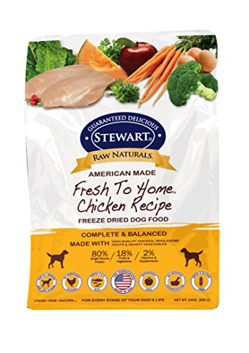 Stewart Raw Naturals Freeze Dried Dog Food Grain Free Made in USA with Chicken, Fruits, & Vegetables for Fresh To Home All Natural Recipe, 24 oz.