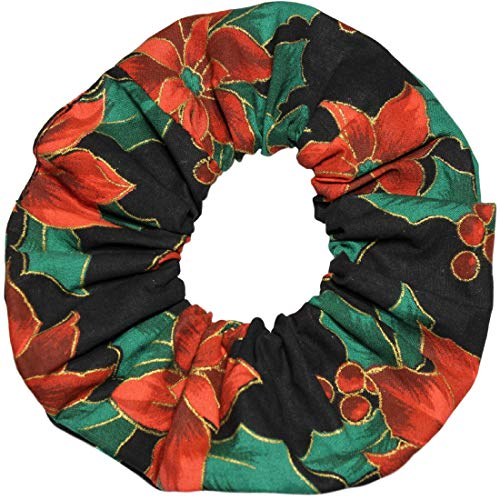 (Poinsettia Black Scrunchies Cotton Ponytail Holders Hair Ties Woven Prints Scrunchie King Made in the USA)