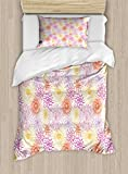 Ambesonne Floral Twin Size Duvet Cover Set, Blossom Spa Gardening Theme Flower Petals Essence Bouquet Art, Decorative 2 Piece Bedding Set with 1 Pillow Sham, Pale Yellow Dark Coral Fuchsia
