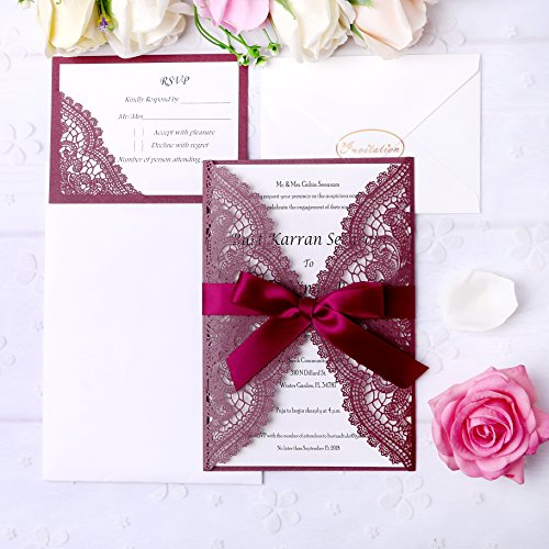 PONATIA 20 Pieces Laser Cut Wedding Invitation Cards Kits with Ribbons +RSVP Cards For Bridal Shower Engagement Birthday Baby Shower Graduation Cardstock (Burgundy+ Burgundy RSVP) ()
