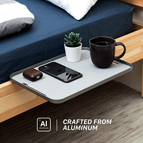 MONITORMATE ProSHELF Aluminum Minimalist Bedside Shelf with Versatile 2-Way Clamp System 3 Colors Gray Made in Taiwan