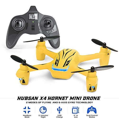 Tekstra Hubsan X4 Hornet Mini Drone- 11 Minutes Flying Time, Headless Mode, Altitude Hold, Speed, Modes Function, LED lights, 330' Range, Portable RC, Small Quadcopter, Best gifts for your Kids