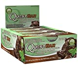 Quest Nutrition Protein Bar, Mint Chocolate Chunk, 20g Protein, 4g Net Carbs, 190 Cals, Low Carb, Gluten Free, Soy Free, 2.12oz Bar, 12 Count