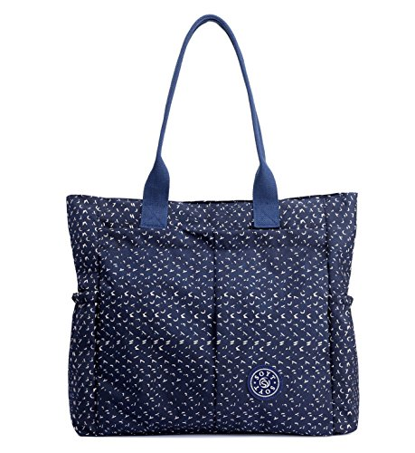 Nylon Water Resistant Multi Pockets Large Lightweight Tote Bag Shoulder Bag for Gym Hiking Picnic Travel Beach Waterproof Tote Bags (Babysbreath HB)