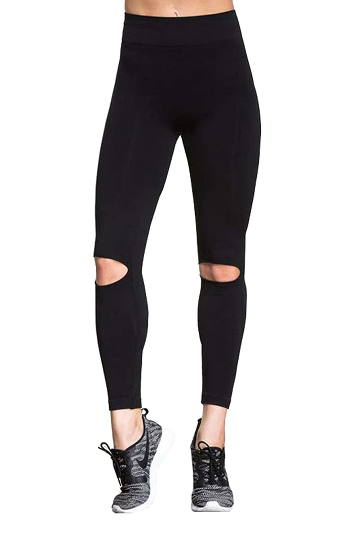 Amazon.com: Manluo Womens Broken Trousers Yoga Leggings ...