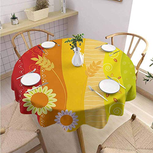 S-ANT Outdoors Round Tablecloth Colorful,Colorful Stripes with Sunflowers and Wheat Farm House Themed Abstract Image,Green Orange Red Parties Wedding Patio Dining D66
