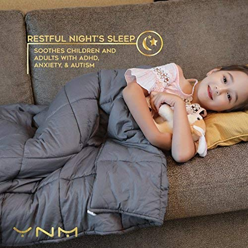 YnM Weighted Blanket (10 lbs for Kids, 41''x60'') | 2.0 Heavy Blanket | 100% Cotton Material with Glass Beads