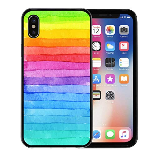 Semtomn Phone Case for Apple iPhone Xs case,Blue Rainbow Striped Watercolor Bright Colors Composition for Colorful Stripe for iPhone X Case,Rubber Border Protective Case,Black