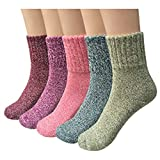 Yaheeda 5 Pairs Womens Cold Weather Soft Warm Thick Knit Crew Casual Winter Wool Socks (Multicolor 03)