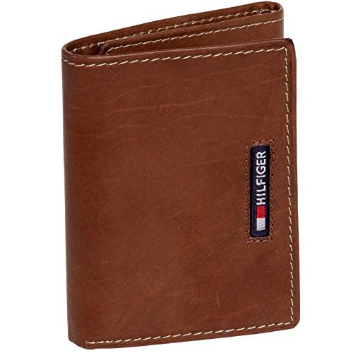 Tommy Hilfiger Men's Leather Embroidered Logo Trifold Wallet (Brown)