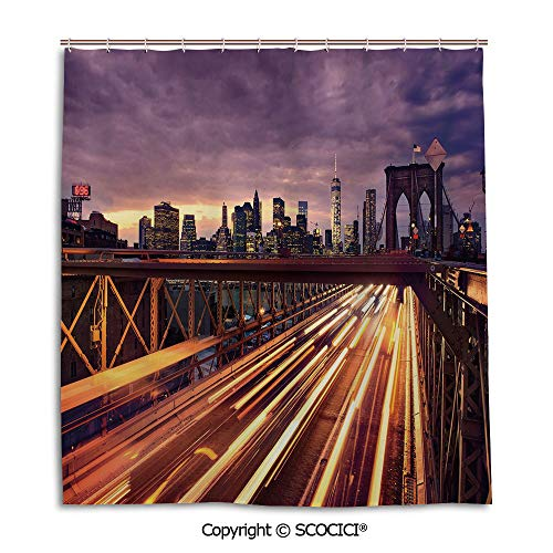 (SCOCICI Creative Bath Curtain Personality Suit Shade Curtain,66X72in,City,Brooklyn Bridge at Night Car Traffic in New York United States Transport,Lilac Dark Orange Yellow,Used for Bathing Privacy)
