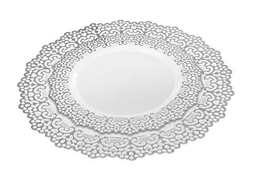 (160 Piece (80 Guest) Disposable Plastic Plates, Hard and Reusable, Real China Look - Party Package Set - Includes 10
