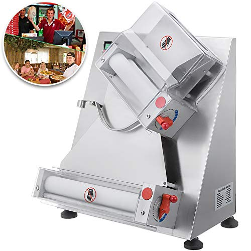 VEVOR Commercial Dough Roller Sheeter 11.8inch Electric Pizza Dough Roller Machine 370W Automatically Suitable for Noodle Pizza Bread and Pasta Maker Equipment (Best Bread Maker For Pizza Dough)