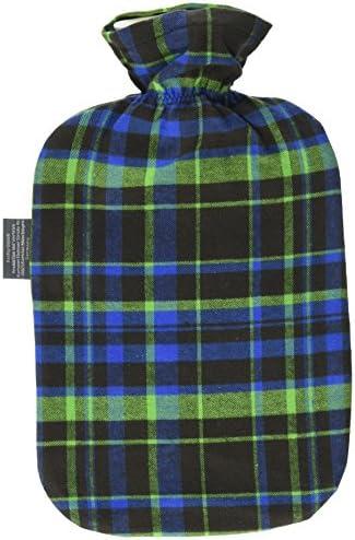 Fashy 6536 67 Wärmflasche mit Baumwollbezug im Karodesign, 2 Liter, grün