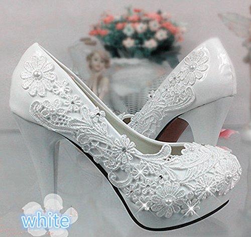JINGXINSTORE Frauen Weiß Lace Wedding Schuhes Bridal Heels Frauen JINGXINSTORE Höhe Pumpen Weiß 253707