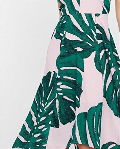 Moda Sin Mangas Tirantes Finos Escote Triangular en V Palm Hoja Posterior Escalonado Bajo Ribete Asimétrico Long Maxi Larga Largo A-Line en línea Skater Plisado Dress Vestido Verde Verde