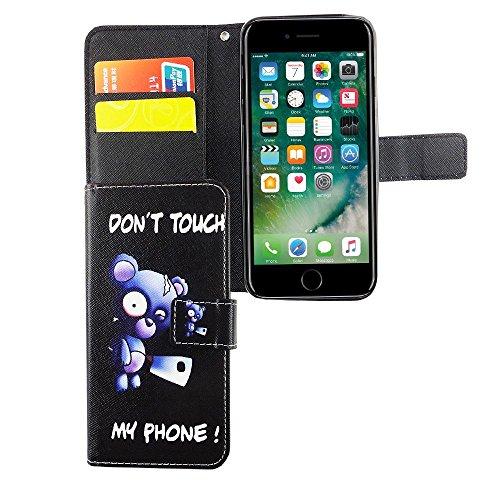 König Boutique Apple iPhone 6/6S Housse étui Case Cover Etui Coque Portefeuille en cuir synthétique motif ours avec hache