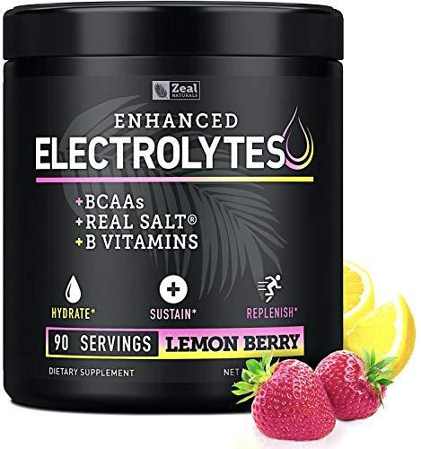 Electrolyte Powder w Real Salt® +BCAAs +B-Vitamins (90 Servings | Lemon Berry) Sugar Free Electrolyte Supplement w…