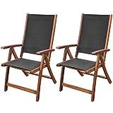 Acacia Wood Folding Chairs vidaXL Set of 2 Acacia Wood Garden Patio Outdoor Folding Chairs Reclining Seat