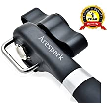Can Opener, Arespark Stainless Steel Can Tin Opener Leaves a Smooth Edge That's Safe with No Sharp Edges, Manual Smooth Edge Can Opener, Black