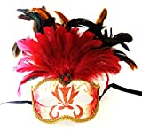 Feather Topper Red Feather Mask Venetian Mardi Gras Party Halloween Prom
