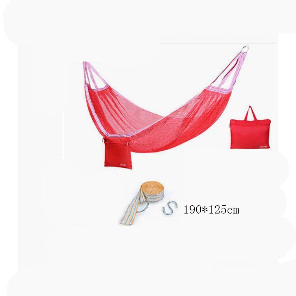 Hängematte Outdoor Hängematte Camping Camping Schaukel Hängematte Bergsteigen Hängematte rote Mesh Polyester Hängematte tragbare Hängematte (Aufbewahrungsbeutel  1, Gurtband  1, hängende Haken  1), (190  125cm)