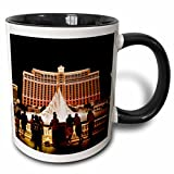 3dRose mug_92182_4 Nevada, Las Vegas, Bellagio Hotel and Casino-Us29 Bbr0061-Brent Bergheim Ceramic, 11oz, Black/White