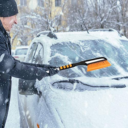 MIFXIN 40'' Extendable Car Snow Brush Removal Ice Scraper with Squeegee and Ice Mover for Car Auto Truck SUV Windshield Windows Deicing Snow Shovel Snowbrush Winter Remover Tool