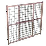 North States MyPet 50' Extra Wide Wire Mesh Petgate: Hassle-free install with no tools. Pressure Mount. Fits 29.5'-50' wide (32' tall, Sustainable Hardwood)