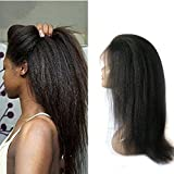 Enoya Hair Best Italian Yaki 360 Lace Frontal Wig Pre Plucked Brazilian Remy Lace Human Hair Wigs for Black Women 180 Density (14'')