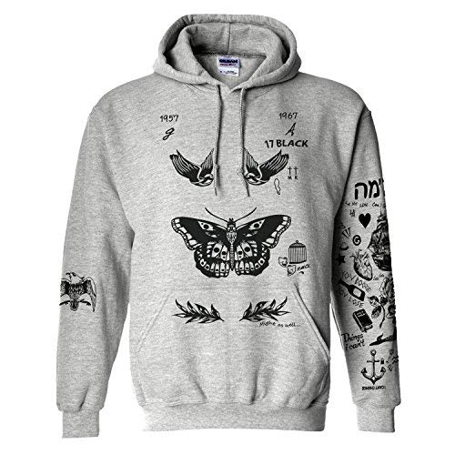 Noonew Women's Butterfly Hoodies Sweatshirt Jumper Pullover Grey X-Large ()