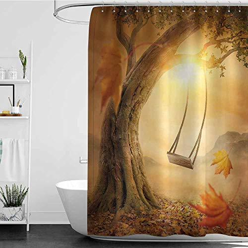Tim1Beve Funny Shower Curtain,Surrealistic Dream Swing Hanged on Majestic Tree Magic Fall Season Childhood Picture,Fabric Shower Curtain Bathroom,W72x96L Orange Sand Brown