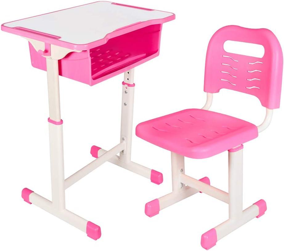 Kids Desk and Chair Set Height Adjustable Ergonomic Children Sturdy Table, Childs Study School Desk Kids Art Writing Desk (Pink)