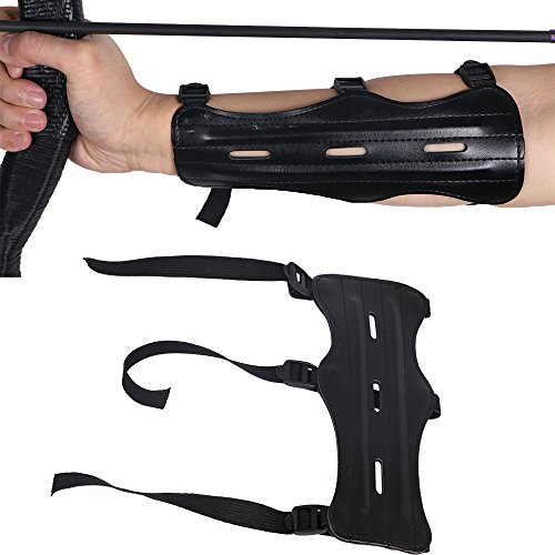 HBG Arm Guards For Archery with Contain Three Adjustable Straps,PU Black,8.66inch Length