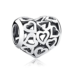 XingYue Jewelry Love Heart S925 Sterling Silver Openwork Bead Charm Protect Me in Your Heart Forever Charm Fit Bracelet (Openwork heart charm)
